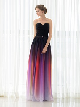 Ericdress Chic A Line Sweetheart Gradient Color Floor Length Evening Dress