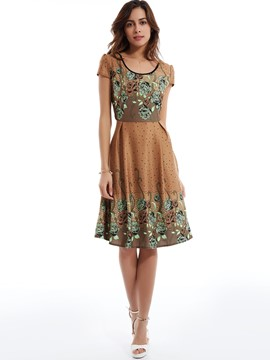 Round Neck Flower Print Day Dress