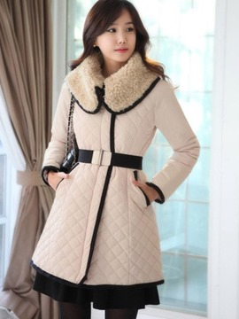 Ericdress Slim Color Block Fleece Collar Coat