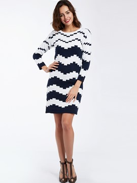 Ericdress Round Neck Geometric Pattern Sweater Dress