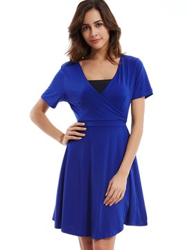 Plain V-Neck A-Line Day Dress