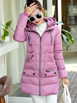 Ericdress Slim Zipper Plus Size Cotton Coat