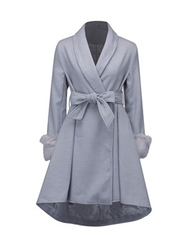 Ericdress Slim Plain Bowknot Wave Cut Coat