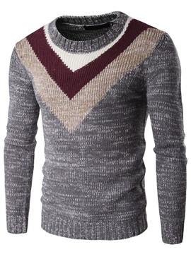 Ericdress Color Block Vogue V-Neck Pattern Pullover Men's Sweater