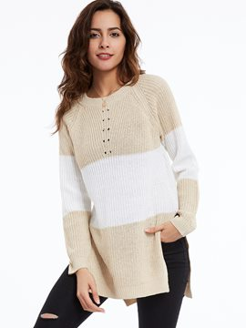 Ericdress Round Neck Color Block Knitwear