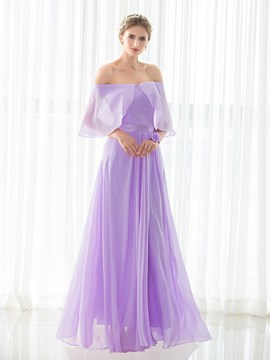 Ericdress Off The Shoulder A Line Chiffon Long Bridesmaid Dress
