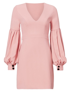 Ericdress Plain V-Neck Lantern Sleeves Bodycon Dress