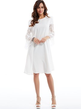 Lace Patchwork Flare Sleeves Day Dress