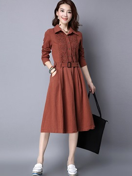 Ericdress Lapel Lace Patchwork Single-Breasted Belt Casual Dress