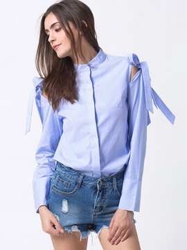 Ericdress Tie Bow Front Blue Blouse