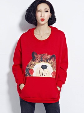 Ericdress Loose Animal Printed Round Neck Hoodie