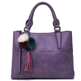 Ericdress Solid Color Tassel Decorated Handbag
