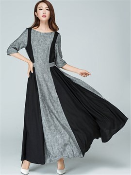 Ericdress Color Block Patchwork Pleated Maxi Dress