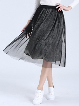 Ericdress Pleated Mesh High-Waist Skirts