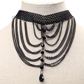 Ericdress Crystal Embellished Black Choker Necklace