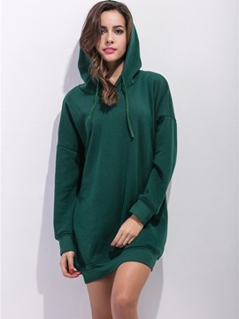 Ericdress Loose Solid Color Casual Hoodie