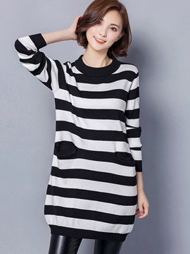 Ericdress Stripe Mid-Length Pullover Knitwear