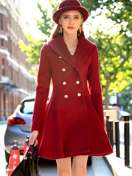 Ericdress Slim Double-Breasted Wave Cut Coat