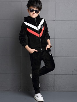 Ericdress Hooded Color Block Boys Leisure Outfit
