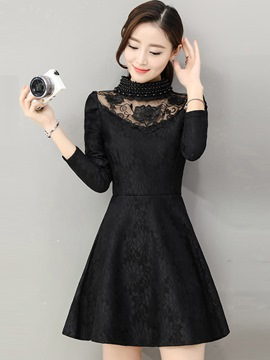 Ericdress Bead Lace See-Through Trumpet Pleated Little Black Dress