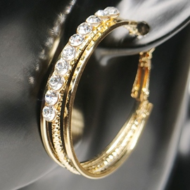 Ericdress Rhinestone Embellished Alloy Hoop Earrings