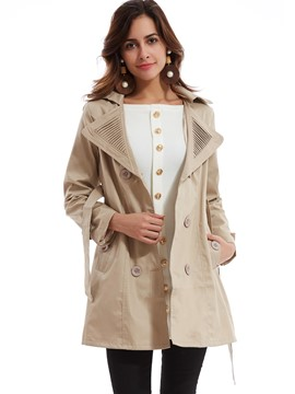 Plain Lapel Double-Breasted Trench Coat