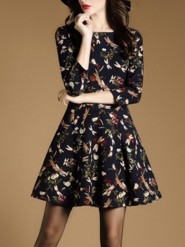 Ericdress Plant Print Pleated Above Knee Casual Dress
