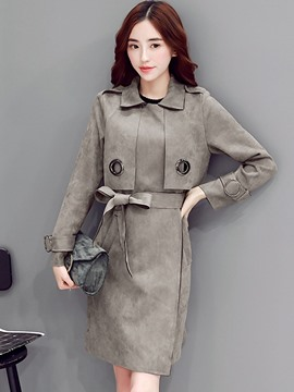 Ericdress Solid Color Slim Bowknot Trench Coat