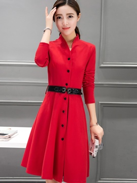 Ericdress Stand Collar Single-Breasted Belt Pleated Casual Dress