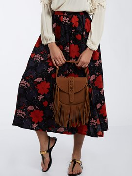 Ericdress A-Line Mid-Calf Flower Printed Skirt