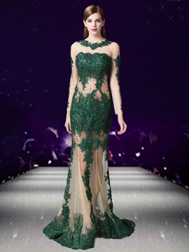 Ericdress Sexy Sheer Long Sleeve Applique Beaded Mermaid Evening Dress
