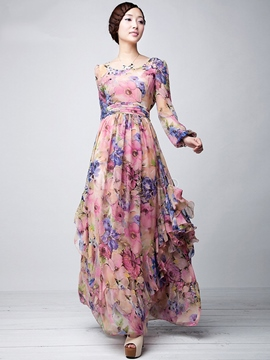 Ericdress Floral Print Pleated Wave Cut Patchwork Maxi Dress