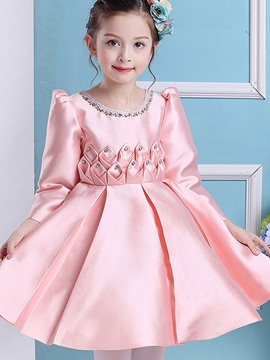 Ericdress Diamond Pleated Plain Long Sleeve Girls Princess Dress