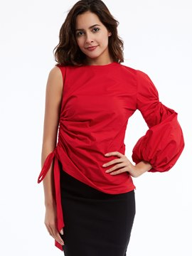 Ericdress Round Neck Puff Sleeves Blouse