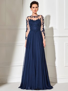 Ericdress Elegant Sheer Long Sleeve Applique Floor Length Long Evening Dress