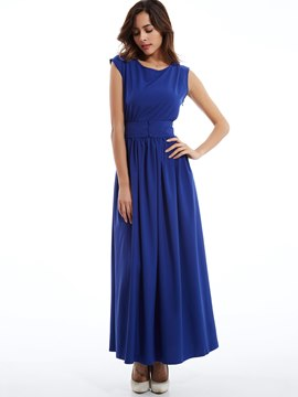 Plain Round Neck Expansion Maxi Dress