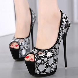 Ericdress Fashion Rhinestone Peep Toe Stiletto Sandals