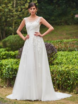 Ericdress Charming Scoop Appliques Beaded A Line Wedding Dress