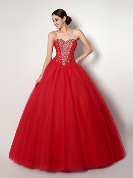 Ericdress Sweetheart Beaded Lace-Up Back Ball Quinceanera Dress
