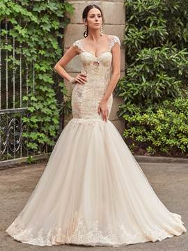 Ericdress Charming Appliques Illusion Back Mermaid Wedding Dress