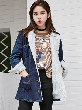 Ericdress Loose Single-Breasted Fleece Denim Outerwear