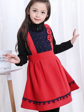 Ericdress Sleeveless Bead Double-Layer Girls Dress