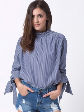 Ericdress Fine Vertical Stirpe Tie Bow Detail Blouse
