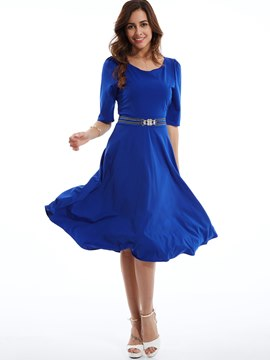 Plain Round Neck Expansion Day Dress