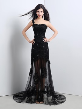 Ericdress Fancy One Shoulder Applique Lace Evening Dress