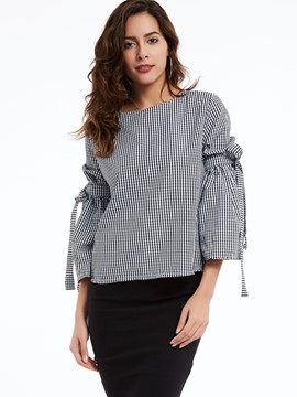 Ericdress Round Neck Flare Sleeves Plaid Blouse
