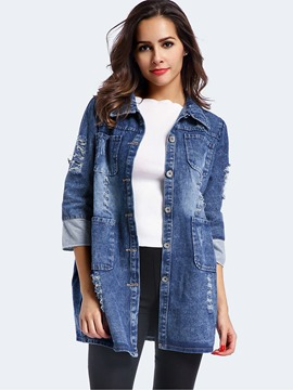 Ericdress Straight Single-Breasted Denim Outerwear