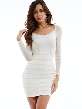 Plain Round Neck Backless Sheath Dress