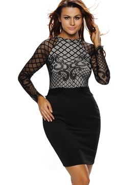Ericdress Sexy Lace Patchwork See-Through Sheath Dress