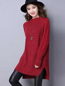 Ericdress Crew Neck Bead Split Knitwear